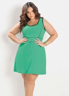 f1a02b0c0 Vestido Verde e Preto Plus Size - Marguerite