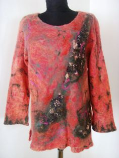 Handmade tunic womam blouse Felt  cloting Woman by radugafelt
