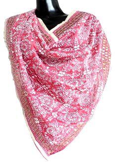 Phulkari Dupatta on Chanderi Fabric - Pink&White: GiftPiper.com. Shop here for phulkari dupatta, embroidered dupattas, phulkari sarees, phulkari suits and