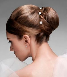 Beach Updo Wedding Hairstyles for Long Straight Hair with Bun and Beads for Oval Shaped Face Women with Brown Caramel Hair Color