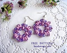 Free pattern for beaded earrings Dulce   U need: super duo or twin seed beads crystal bicones 4 mm seed beads 11/0