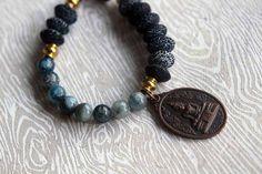Sutra Stone Bracelet - Black Crab Agate, Blue Kyanite - Buddha Charm, Chunky Gemstone Bracelet - Copper and Brass - Thai Buddhist - Gift Box on Etsy, $43.00