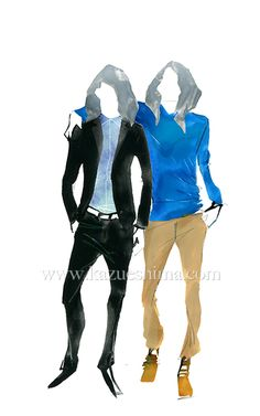 Men's Fashion illustration by Kazue Shima. Men's blue gray style. Jacket and bottom. (Material: water color, pencil, photoshop)