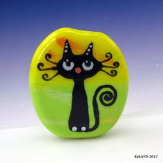 """CURLY SUE"" byKAYO a Handmade FANCY CAT Lampwork Art Glass Focal Bead SRA 