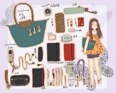 what's in your bag? Art Kawaii, Kawaii Chibi, What In My Bag, What's In Your Bag, Purse Necessities, Character Drawing, Character Design, What's In My Backpack, Fantasy Words