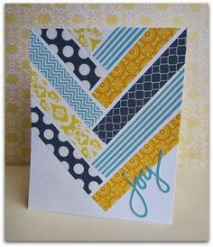 handmade Washi Tape card ... luv the herringbone pattern and how colorful the translucent tape looks on white ... bright and sunny card ... blues and yellows ...