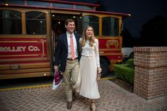 ann whittington events elegant rehearsal dinner southern style country club bride and groom to be heading into rehearsal dinner from trolley Bride Groom, Wedding Bride, Wedding Day, Groom Reaction, Bride And Groom Pictures, Before Wedding, Rehearsal Dinners, Southern Style, Real Weddings