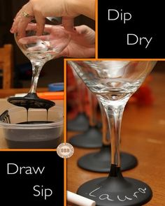 Isn't it always the same? You go to a party and never know which glass is yours. No longer with this super simple DIY solution! You need wine glasses & chalkboard paint (black finish) Diy Wine Glasses, Painted Wine Glasses, Champagne Glasses, Diy Tableau Noir, Diy Chalkboard Paint, Chalk Paint, Chalkboard Ideas, Chalkboard Drawings, Chalkboard Lettering