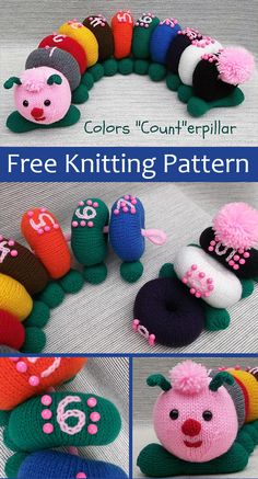 knitting patterns toys Free Knitting Pattern for Colors Count-erpillar - This adorable caterpillar learning toy helps in reinforcing skills in color and number recognition, and n Knitting Toys Easy, Knitting Videos, Free Knitting, Knitting Projects, Summer Knitting, Animal Knitting Patterns, Stuffed Animal Patterns, Knitted Teddy Bear, Knitted Animals