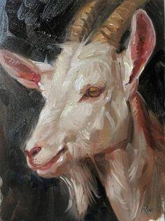 "Daily Paintworks - ""Goat"" - Original Fine Art for Sale - © Margot King"