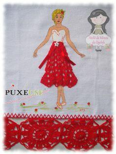 Ateliê de Mimos da Quelsfs: Pano de prato boneca com vestido de Crochê + Risco