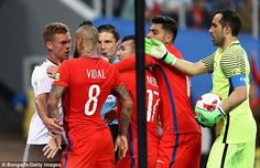 Joshua Kimmich and Arturo Vidal square up to one another after a confrontation...
