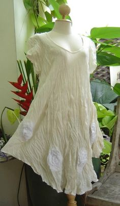 NEW Oh My Thai Dye Cotton gauze Lagenlook Rosette Tunic Ivory S - XLarge 1X