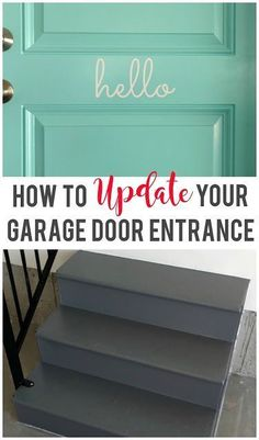 Easily update your garage door entrance to instantly improve the look! Garage Door Paint, Garage Door Makeover, Garage Doors, Garage Remodel, Garage House, Car Garage, Stained Concrete, Painted Floors, Entrance Doors