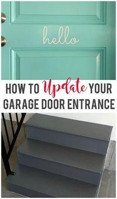 Easily update your garage door entrance to instantly improve the look! Garage Door Paint, Garage Doors, Automatic Garage Door, Garage Remodel, Home Workshop, Garage House, Car Garage, Stained Concrete, Painted Floors