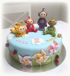 Teletubbies cake Teletubbies Birthday Cake, Teletubbies Cake, Baby Birthday Cakes, Birthday Ideas, Edible Cake Toppers, Girl Cakes, Fondant Cakes, Creative Cakes, Celebration Cakes