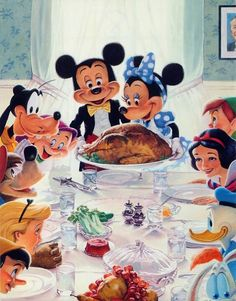 Disney Thanksgiving art with a Normal Rockwell inspiration