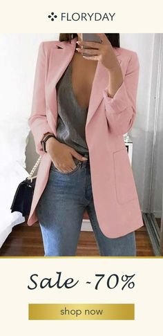Women's Slim Casual Solid Long Blazer With Pocket Work Office Lady Spring Autumn Suit Long Sleeve Notched Blazer Coat, White / XL Casual Work Outfits, Professional Outfits, Mode Outfits, Work Casual, Classy Outfits, Fall Outfits, White Blazer Outfits, Look Casual Chic, Leopard Blazer