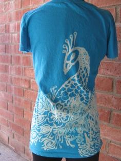 Bleach tshirts   Peacock bleach painted Tshirt!  $25