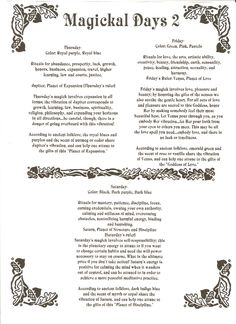Magick Spells:  #Magickal Days 2 #Correspondences.