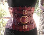 One of a Kind Steampunk Hand Tooled Hard Leather Underbust Corset Armor - Ready to Ship  - Absolute Devotion