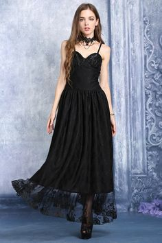 Lace Hem Gothic Dress by Dark in Love