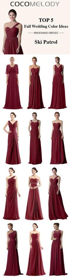 Top 5 Fall Wedding Color Ideas --Ski Patrol . 12 Styles Can Be Chosen  . #burgundydresses .#fallwedding #bridesmaiddresses#skipatroldresses #customdresses