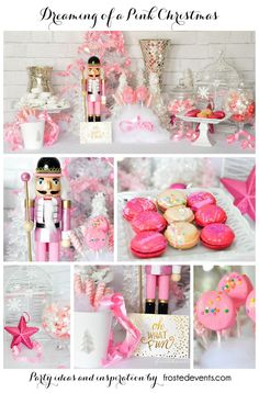 Dreaming of a Pink Christmas party via @frostedevents  Pink Nutcracker, macaroons, cheescake pops    holiday decor, holiday inspiration, party ideas   Nutcracker from @target