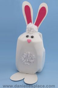 Easter bunny milk jug craft for kids