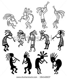 Hand drawn vector Kokopelli figures - stock vector