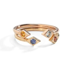"""Ankara Protective Birthstone Stacking Gold Ring is designed after the """"evil eye"""" talisman to protect the wearer. Choose your birthstone to set. 14k Gold Jewelry, Delicate Jewelry, 14k Gold Ring, Gold Rings, Three Sisters Jewelry, Minimalist Jewelry, Personalized Jewelry, Birthstones, White Gold"""