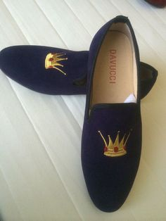 Navy Custom-made DAVUCCI Handmade Slippers Velvet Loafers - New with box and dust bags > Men's Shoes, Dress/Formal