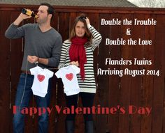 Twin Baby Announcement  Valentines Day Pregnancy Announcement Twins