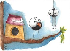 ACEO Original watercolor art painting whimsical birdhouse crow and spider #IllustrationArt