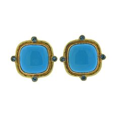 Elizabeth Locke Turquoise Zircon 19k Gold Earrings