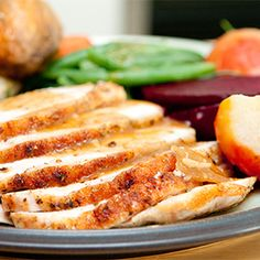 Slow Cooker Herb Crusted Turkey Breast Recipe [from Katie: Couldn't find a bone-in breast, so I used a boneless roast. Still worked great! Crock Pot Recipes, Easy Turkey Recipes, Slow Cooker Recipes, Cooking Recipes, Healthy Recipes, Healthy Meals, Protein Dinners, Entree Recipes, Clean Eating Snacks