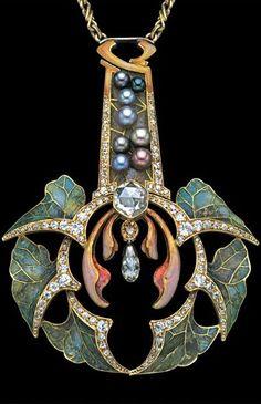 Diamond and Pearl Pendant, Art Nouveau, Philippe Wolfers. Bijoux Art Nouveau, Art Nouveau Jewelry, Jewelry Art, Antique Jewelry, Jewelry Gifts, Vintage Jewelry, Fine Jewelry, Jewelry Design, Antique Rings