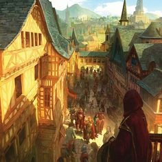 "Baldur's Gate by Marc Simonetti cover art for ""Heroes of Baldur's gate"" made for Arcanum for their D&D rpg add-on. High Fantasy, Fantasy Town, Fantasy Castle, Medieval Fantasy, Fantasy World, Fantasy Forest, Fantasy Art Landscapes, Fantasy Landscape, Landscape Art"