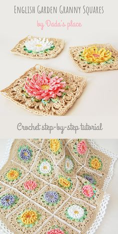 English Garden Granny Square Pattern by Dada's place These beauti. English Garden Granny Square Pattern by Dada's place These beautiful, floral grann Motifs Granny Square, Sunburst Granny Square, Crochet Motifs, Granny Square Crochet Pattern, Crochet Flower Patterns, Crochet Stitches Patterns, Crochet Squares, Crochet Flowers, Flower Granny Square