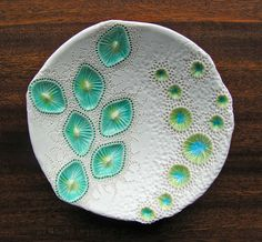 Nature inspired, sculpted porcelain plate ~ Mairi Stone