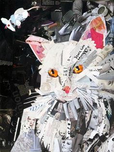 Yahoo Mail Feline Collage by Waffleznfries Magazine Collage, Magazine Art, Paper Collage Art, Paper Art, Mixed Media Collage, Art Plastique, Fabric Art, Oeuvre D'art, Art Techniques