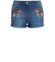 Parisian Blue Floral Embroidered Denim Shorts   New Look