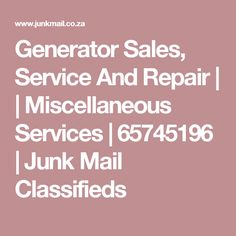 We service and repair Generators of all makes and sizes in Pretoria. We also supply Generators to suit your need. Junk Mail, Pretoria, Generators, Projects To Try, Integrity, Data Integrity