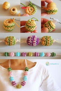 Crochet beads' necklace, free pattern, photo tutorial, written instructions/ Collar de cuentas tejidas, patrón gratis, foto tutorial, instrucciones escritas