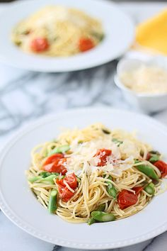Easy and Healthy Spring Pasta - Angel Hair with Roasted Garlic, Cherry Tomatoes, and Asparagus