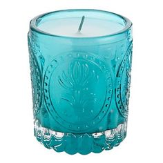 Turquoise embossed candle - Filled candles - Home accessories - Home & furniture -