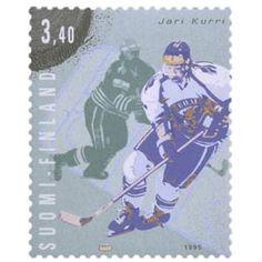 Postimerkki: Joukkueurheilu - Jari Kurri, jääkiekko | Suomen postimerkit Finland, Baseball Cards, Ice Hockey