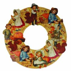 Bethany-Lowe-Fall-Autumn-Bounty-Harvest-Die-Cut-Wreath-Kids-Theme-19-034-D