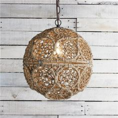 """Group several together in different sizes to create your own design. 60 watt medium base lamp max. (13""""Hx13""""W) Supplied with 6' of bronze ch..."""