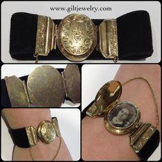 Exquisite early Victorian 15 karat gold locket velvet bracelet with daguerreotype photo $1895 #giltjewelry #victorian #antique #bracelet #locket #velvet #mourningjewelry #sentimental #nw23rd